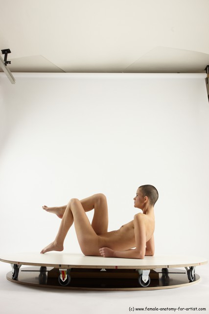 Photo of Nude Woman White Sitting poses - ALL Slim bald Sitting poses - simple Multi angle poses