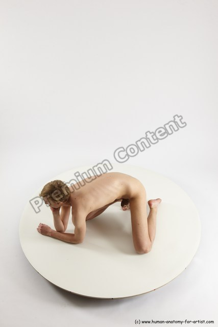 Photo of Nude White Sitting poses - ALL Underweight medium brown Sitting poses - on knees Multi angle poses