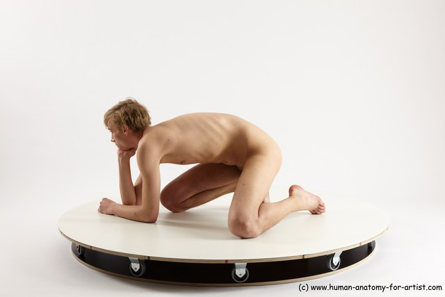 Nude White Sitting poses - ALL Underweight medium brown Sitting poses - on knees Multi angle poses