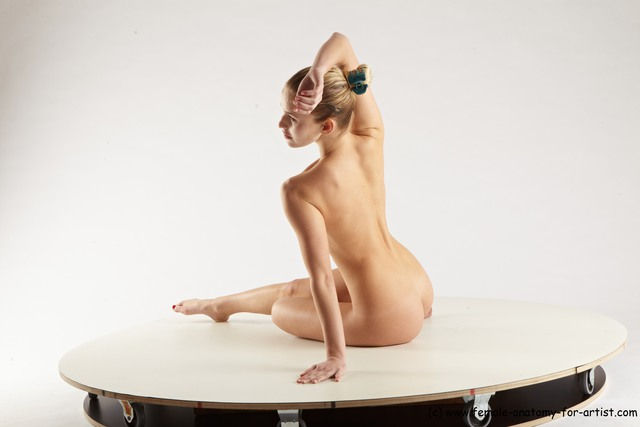 Nude Woman White Sitting poses - ALL Slim long blond Sitting poses - simple