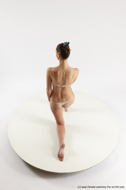 Underwear Woman White Kneeling poses - ALL Athletic Kneeling poses - on one knee long brown Multi angle poses