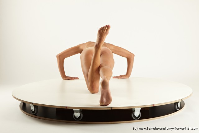 Underwear Gymnastic poses Woman White Slim long brown