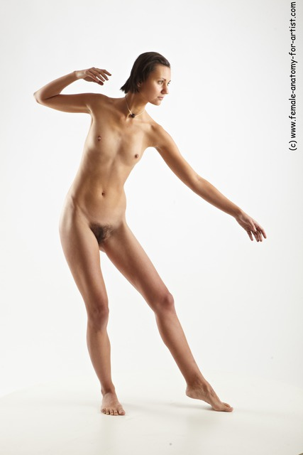 Nude Woman White Standing poses - ALL Slim short brown Standing poses - simple