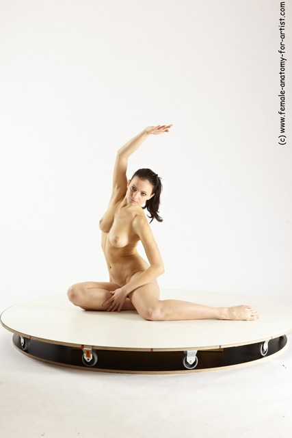 Nude Woman White Sitting poses - ALL Slim long brown Sitting poses - simple Multi angle poses
