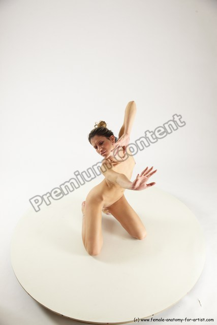 Nude Woman White Sitting poses - ALL Slim long blond Sitting poses - on knees Multi angle poses