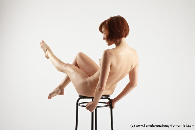 Nude Woman White Sitting poses - ALL Athletic medium red Sitting poses - simple