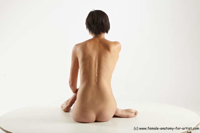 Nude Woman White Sitting poses - ALL Slim short brown Sitting poses - simple