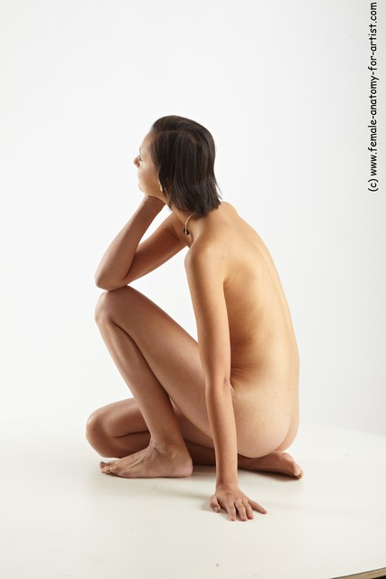 Nude Woman White Sitting poses - ALL Slim short brown Sitting poses - on knees