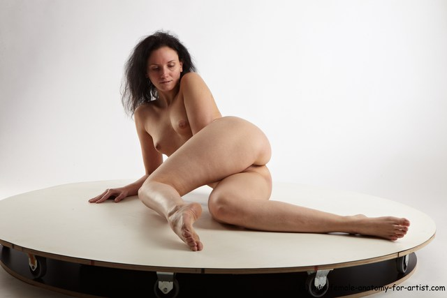 Nude Woman White Laying poses - ALL Slim Laying poses - on side long brown
