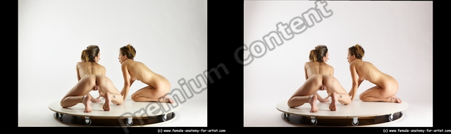 Nude Woman - Woman White Sitting poses - ALL Slim long blond Sitting poses - on knees 3D Stereoscopic poses