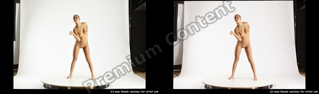 Nude Woman White Standing poses - ALL Slim long brown Standing poses - simple 3D Stereoscopic poses