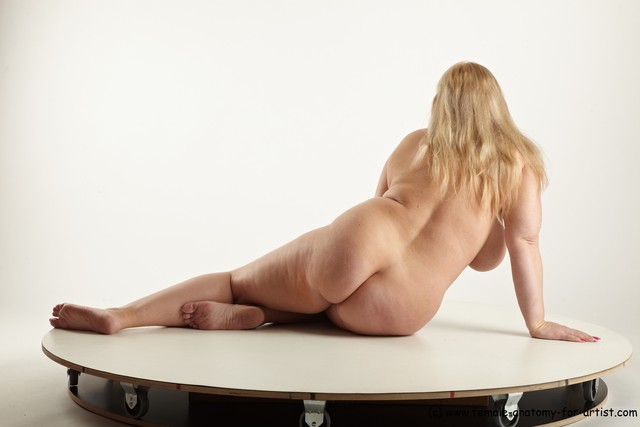 Nude Woman White Sitting poses - ALL Overweight long blond Sitting poses - simple