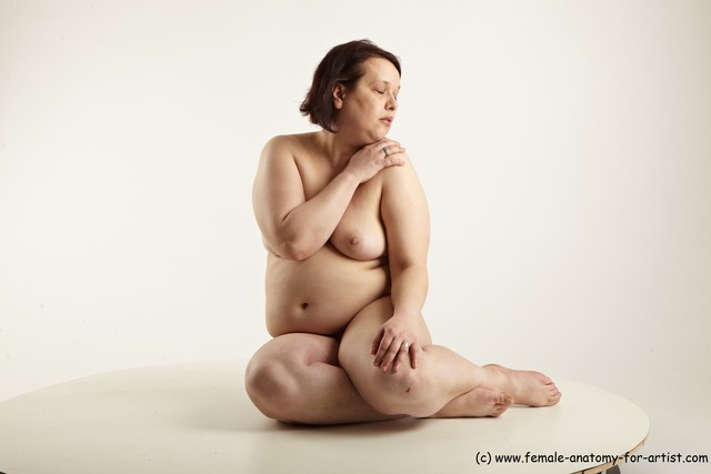 Nude Woman White Sitting poses - ALL Pregnant short brown Sitting poses - simple