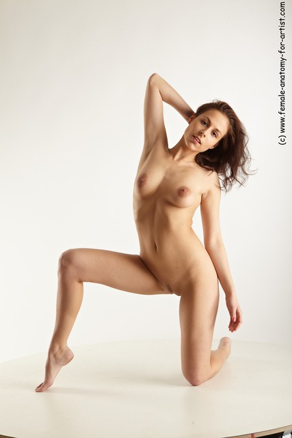 Nude Woman White Kneeling poses - ALL Slim Kneeling poses - on one knee long brown