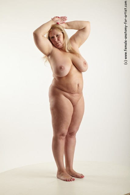 Nude Woman White Standing poses - ALL Overweight long blond Standing poses - simple