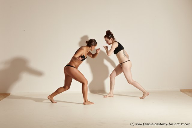 Underwear Martial art Woman - Woman White Moving poses Athletic medium brown Dynamic poses