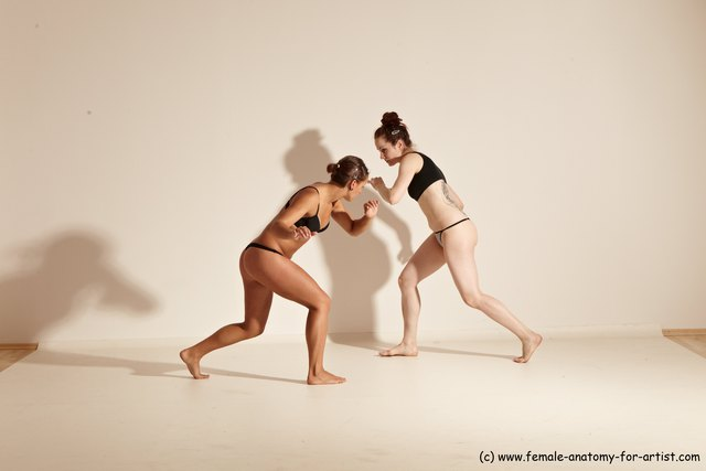 Photo of Underwear Martial art Woman - Woman White Moving poses Athletic medium brown Dynamic poses