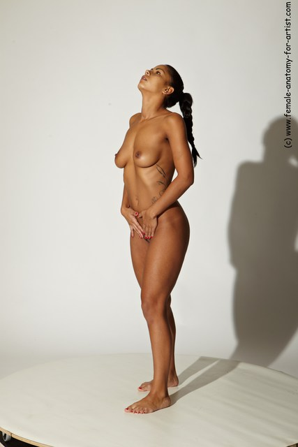 Nude Woman Multiracial Standing poses - ALL Slim long black Standing poses - simple