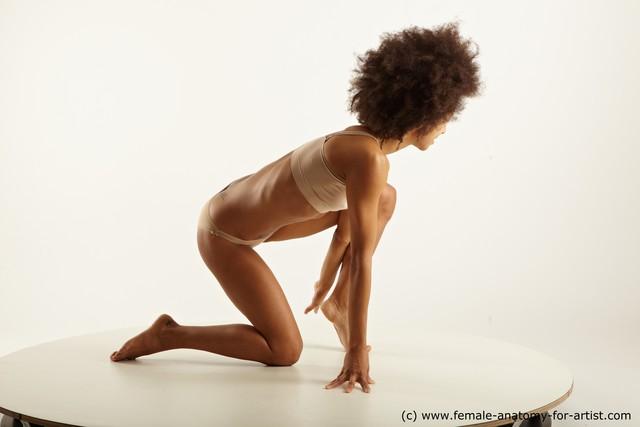 Underwear Woman Black Kneeling poses - ALL Slim Kneeling poses - on one knee medium brown
