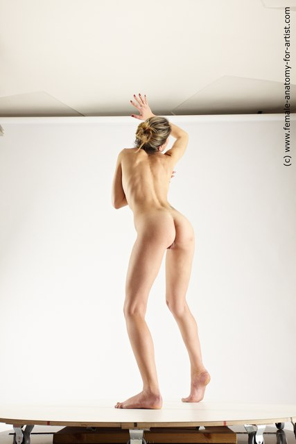 Nude Woman White Standing poses - ALL Slim long blond Standing poses - simple Multi angle poses