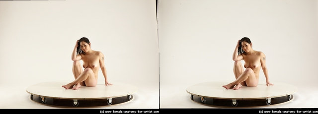 Nude Woman Asian Sitting poses - ALL Average long black Sitting poses - simple 3D Stereoscopic poses