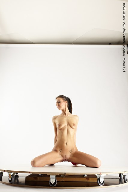 Nude Woman White Kneeling poses - ALL Slim Kneeling poses - on both knees long brown Multi angle poses