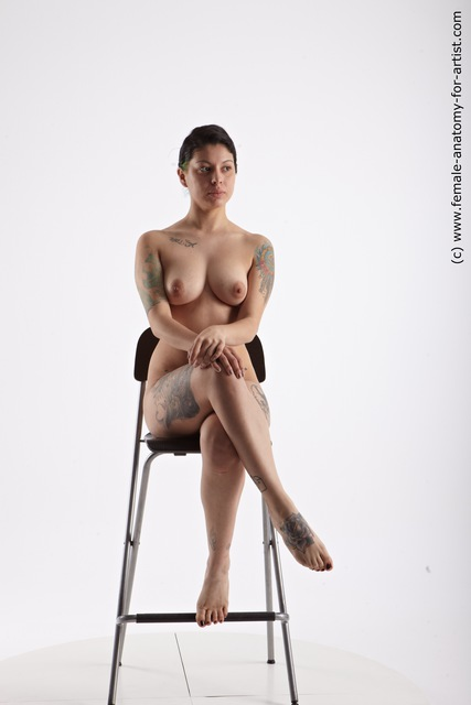 Nude Woman Multiracial Sitting poses - ALL Slim medium brown Sitting poses - simple