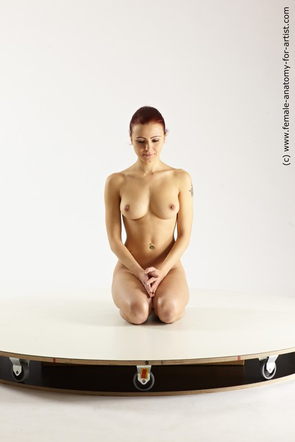 Photo of Nude Woman White Kneeling poses - ALL Slim Kneeling poses - on both knees long colored Multi angle poses