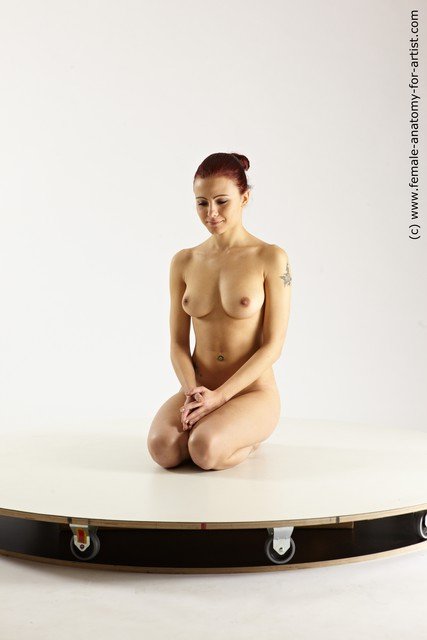 Nude Woman White Kneeling poses - ALL Slim Kneeling poses - on both knees long colored Multi angle poses