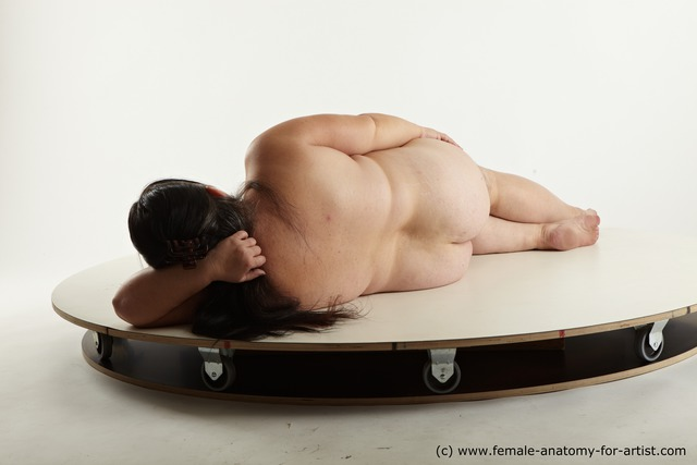 Nude Woman White Overweight long black