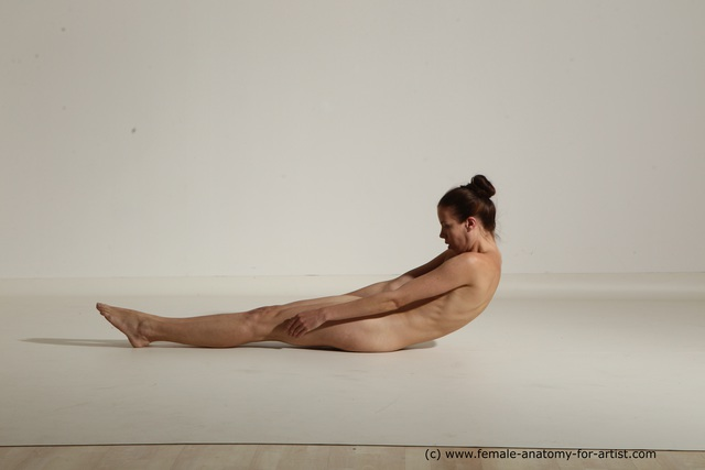 Nude Woman White Laying poses - ALL Athletic Laying poses - on back long brown Dynamic poses