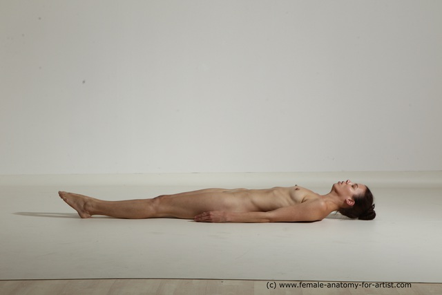 Photo of Nude Woman White Laying poses - ALL Athletic Laying poses - on back long brown Dynamic poses