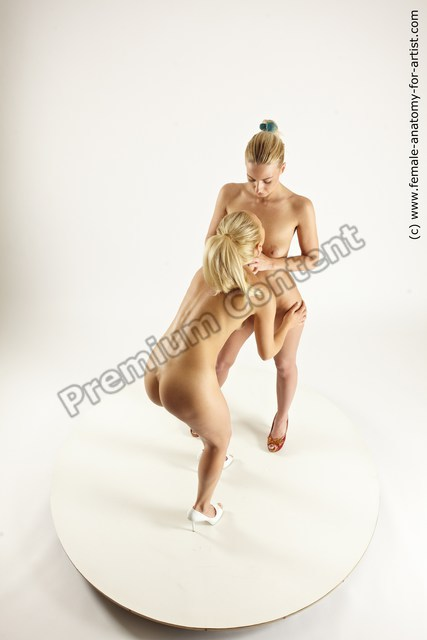 Nude Woman - Woman White Standing poses - ALL Slim Standing poses - bend over long blond Multi angle poses