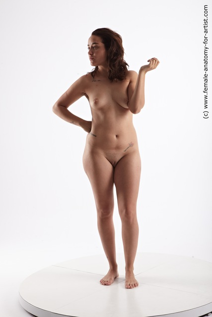 Nude Woman Multiracial Standing poses - ALL Average long brown Standing poses - simple