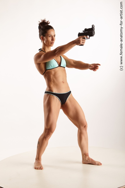 Underwear Fighting with gun Woman White Standing poses - ALL Muscular medium brown Standing poses - simple