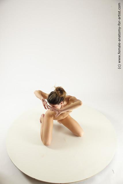 Nude Woman White Slim long blond Multi angle poses
