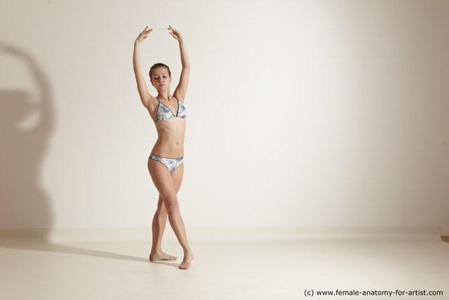 Swimsuit Woman White Slim long brown Dancing Dynamic poses