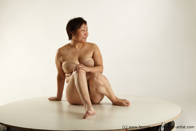 Underwear Woman Asian Sitting poses - ALL Overweight short black Sitting poses - simple