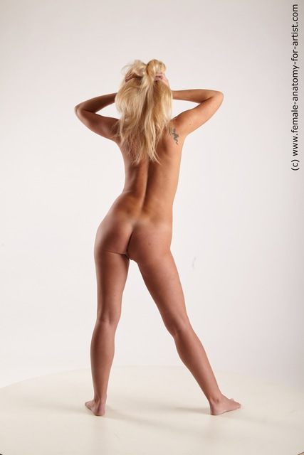 Nude Woman White Standing poses - ALL Athletic long blond Standing poses - simple