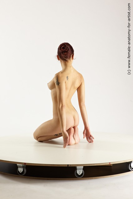 Nude Woman White Kneeling poses - ALL Slim Kneeling poses - on both knees long blond Multi angle poses