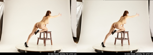 Nude Woman White Standing poses - ALL Slim Standing poses - bend over long brown 3D Stereoscopic poses