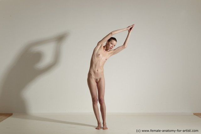 Nude Gymnastic poses Woman White Athletic long brown Dynamic poses