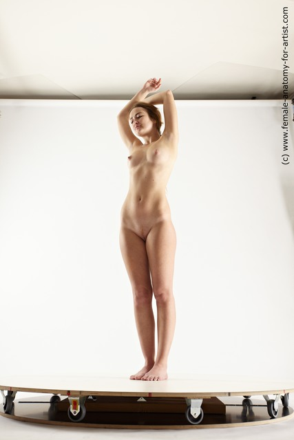 Nude Woman White Standing poses - ALL Slim long brown Standing poses - simple Multi angle poses