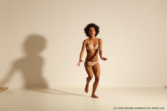 Underwear Gymnastic poses Woman Black Moving poses Slim medium brown Dynamic poses