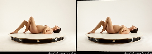 Nude Woman White Laying poses - ALL Pregnant Laying poses - on back long black 3D Stereoscopic poses