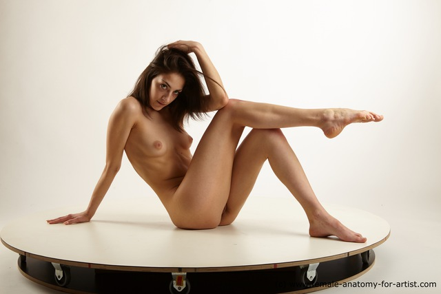 Nude Woman White Sitting poses - ALL Slim long brown Sitting poses - simple Standard Photoshoot