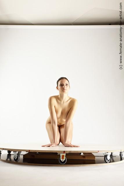 Nude Woman White Kneeling poses - ALL Slim Kneeling poses - on both knees long brown Multi angle poses
