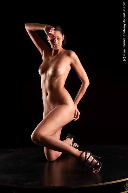 Nude Woman White Slim long black Standard Photoshoot