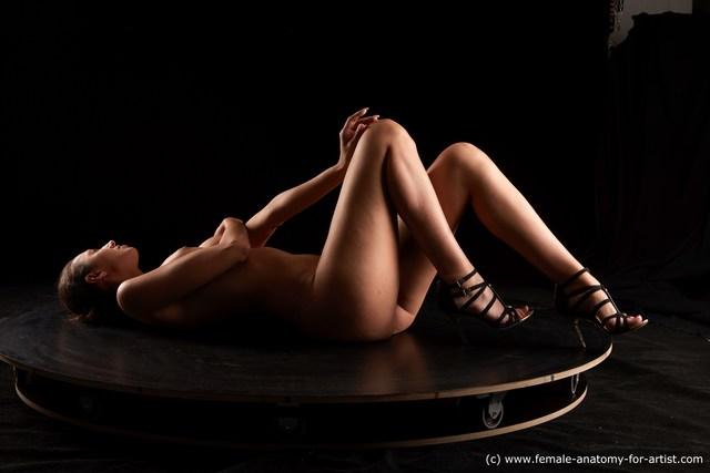 Nude Woman White Slim long black Standard Photoshoot