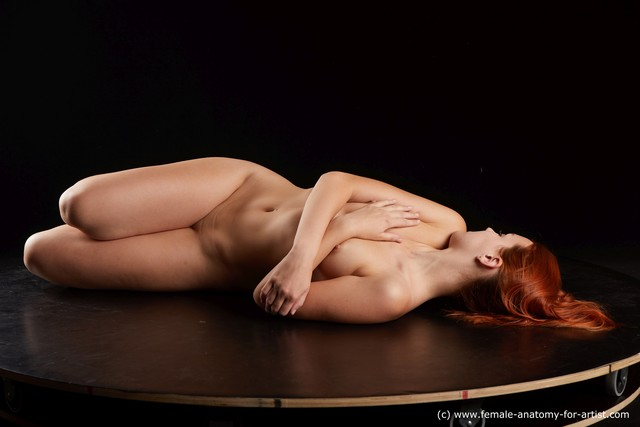 Nude Woman White Slim long red Standard Photoshoot